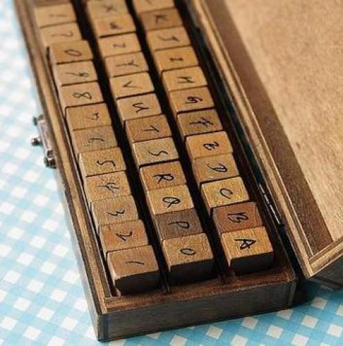 Stempelset Alphabet grosse Buchstaben Handschrift