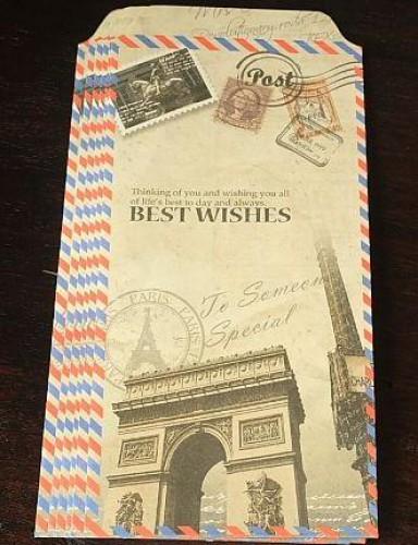 6 Umschläge Kraft vintage Paris Triumphbogen