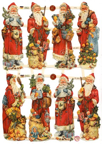 Glanzbilder bescherender Weihnachtsmann glitzernd