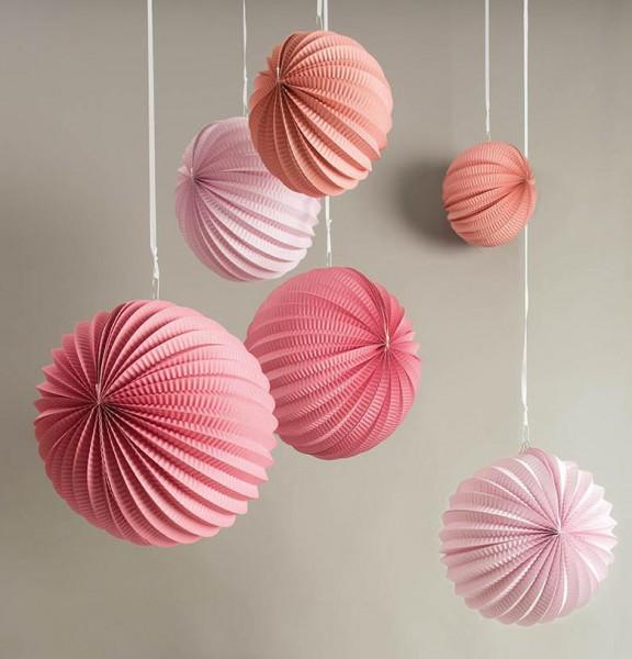 3er Set Lampions Papier rosa, apricot
