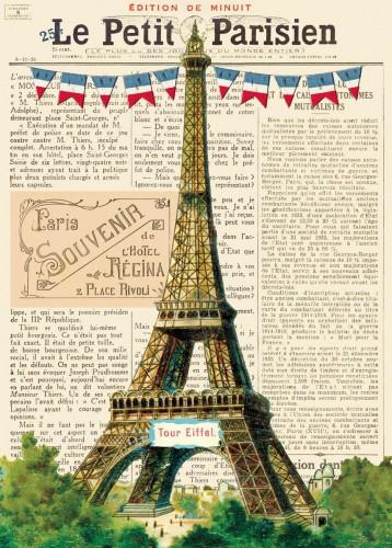 Geschenkpapier vintage Eiffelturm 3 Bögen
