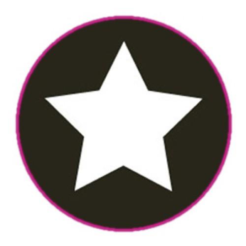 10 Stern Sticker Etiketten schwarz weiss