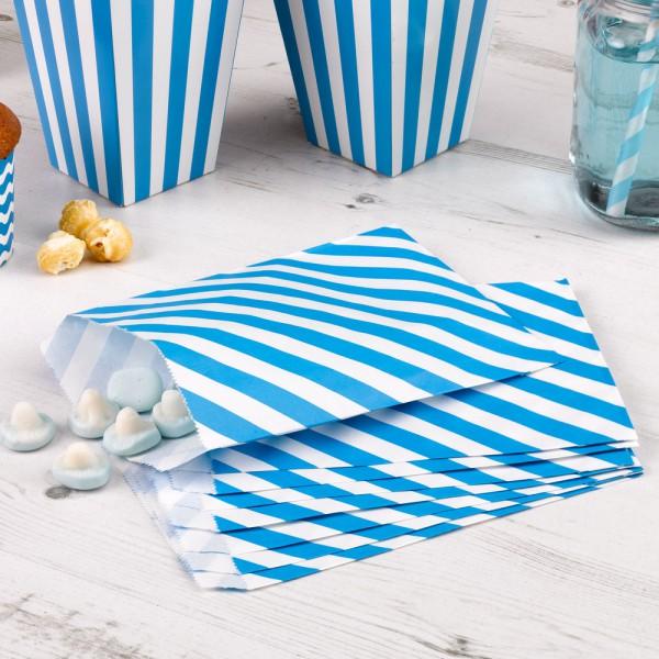 25 Papiertüten blau weiss gestreift Candy