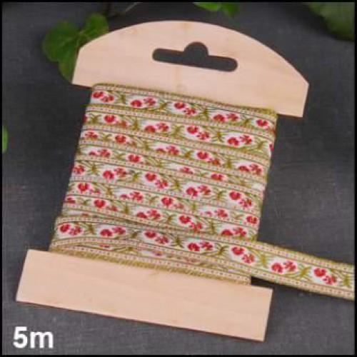 Garnkarte aus Holz mit 5 Meter Webband Blüten