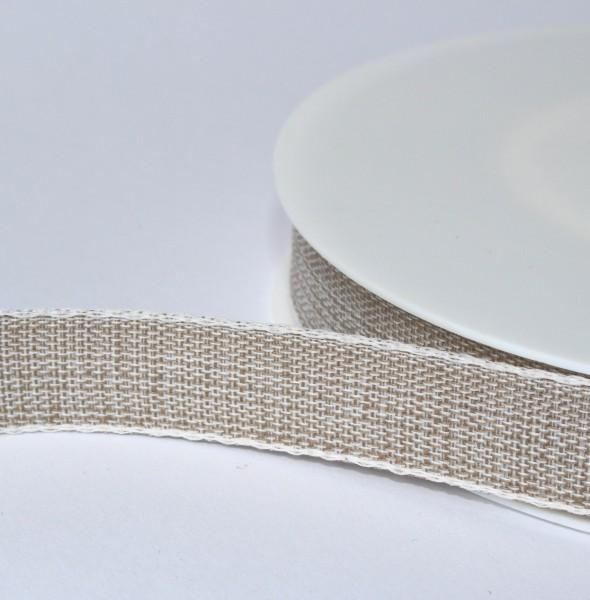 Schleifenband natur mit Leinenkante 15mm