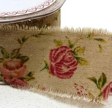 Leinenband bedruckt Rose 5cm breit Meterware